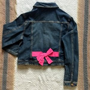 Lilly Pulitzer jean jacket with pink bow detail